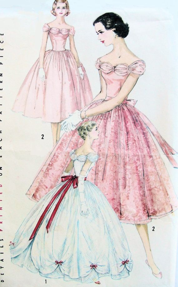 1950s GORGEOUS Prom Bridal or Evening Gown Pattern Detachable ...