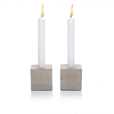 Kerzenhalterwürfel-Set, 2-tlg., mit Halterung für Stabkerzen, Beton Vorderansicht