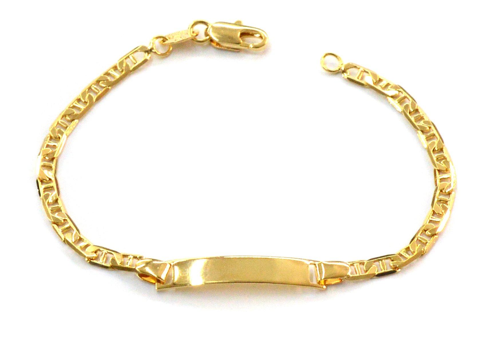mbra-0516-j5 6.5 18kt Brazilian Gold Filled Kids ID Bracelet