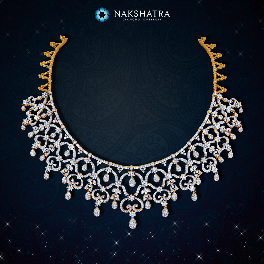 Grace your neck with magnificent stars for your wedding pick this grace your neck with magnificent stars for your wedding pick this nakshatra diamond necklace to aloadofball Images