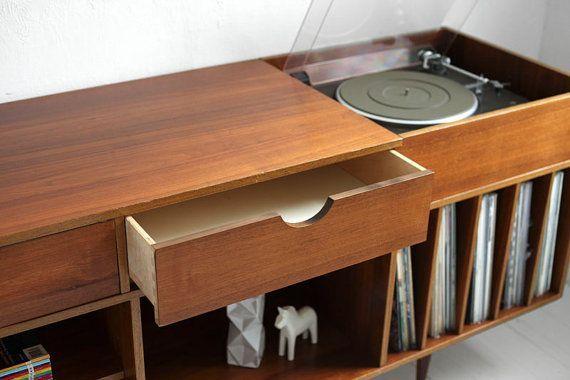 Vintage Swedish Teak Record Cabinet via Etsy I u2019m very into this built in record player u2026 hrrrm