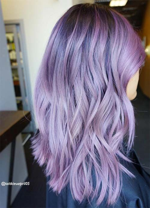 50 Lovely Purple Lavender Hair Colors In Balayage And Ombre Lavender Hair Colors Hair Color Purple Purple Balayage