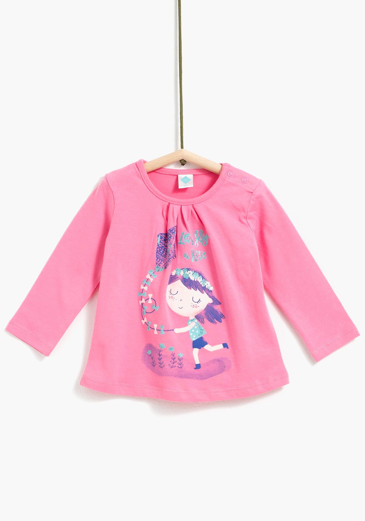 4b3e535f5 Camiseta de manga larga para niña cierre en el hombro con snapsAlgodón 96%  Elastano 4