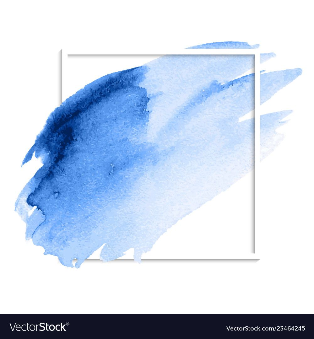 Blue Abstract Watercolor Stain Brush Strokes Vector Image On