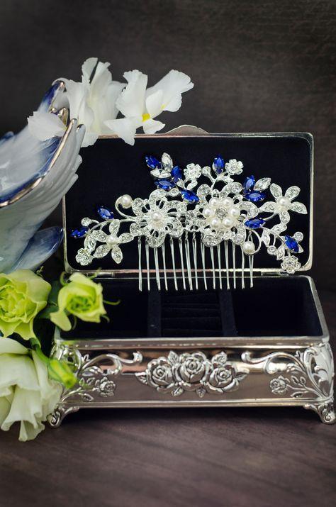 Sapphire Blue Swarovski Crystal Bridal Hair Comb Royal Blue