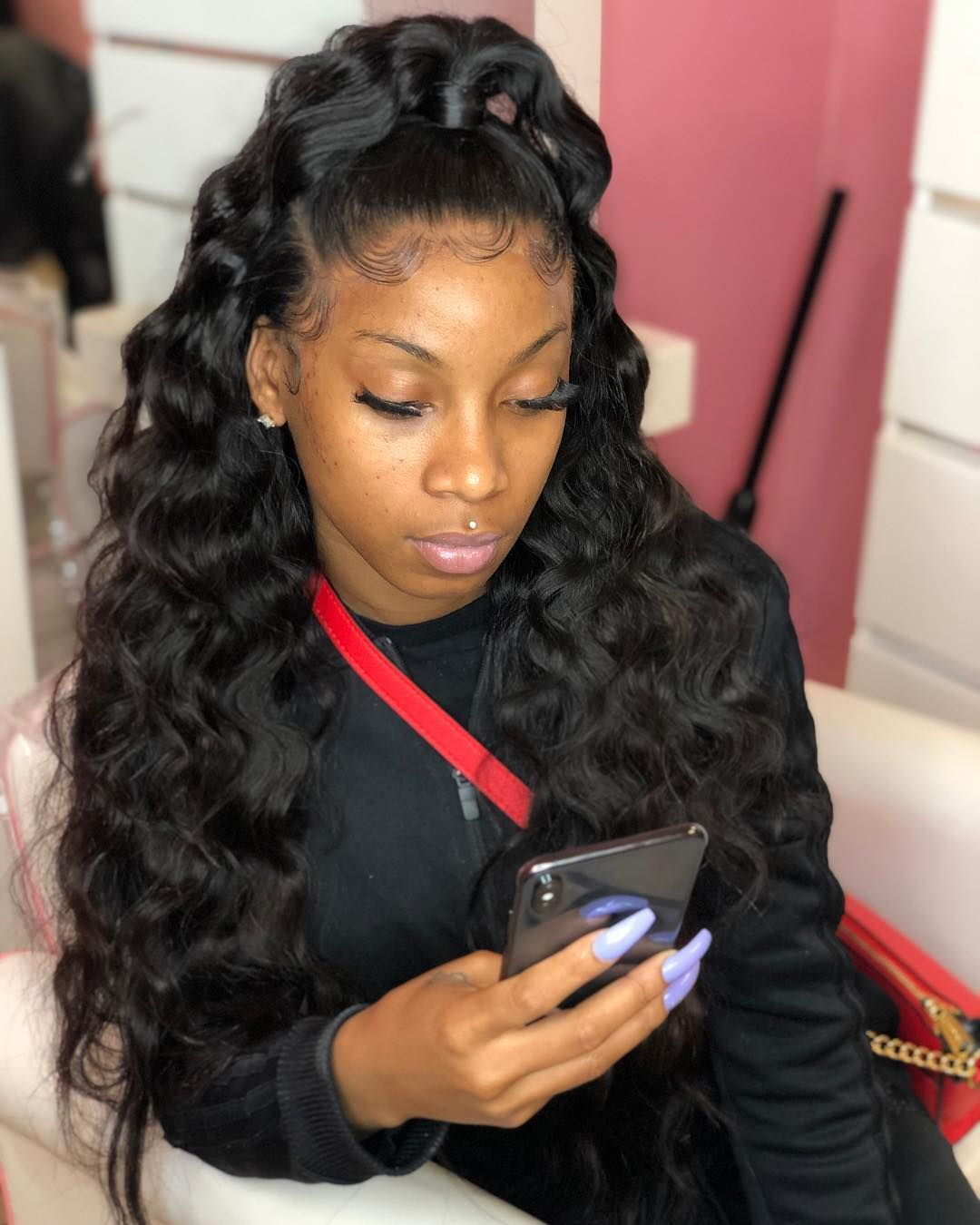 On Instagram Effortless Crimped Half Up Half Down Hair From Imhighmaintenance Can T Down Curly Hairstyles Long Hair Styles Curly Hair Styles Naturally
