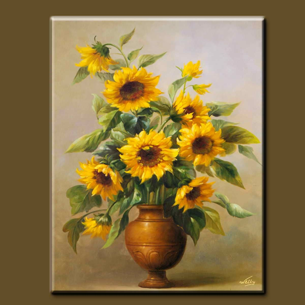 Yellow flowers in vase painting vase pinterest yellow modern big size abstract acrylic painting flowers in vase painting on canvas for home decration reviewsmspy
