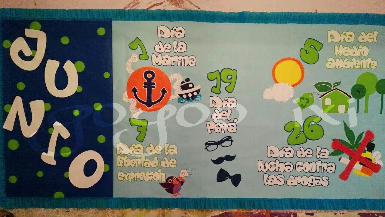 Periodico mural junio | murales | School classroom ...