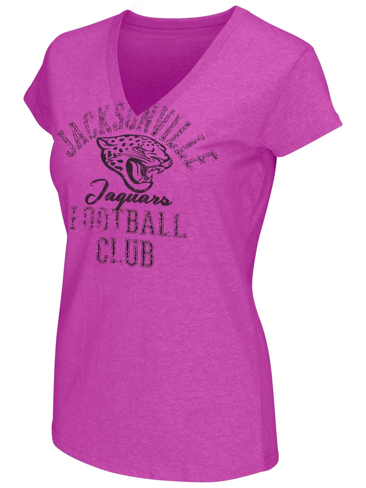 6dbcdfcb5b5 NFL Jacksonville Jaguars G-III 4Her Distressed Neon Purple Womens V-Neck