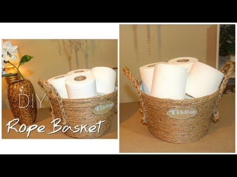 Diy Dollar Tree Rope Basket Bathroom Organization Tissue Holder Chanelle Novosey Youtube Dollar Tree Diy Dollar Tree Baskets Rope Basket