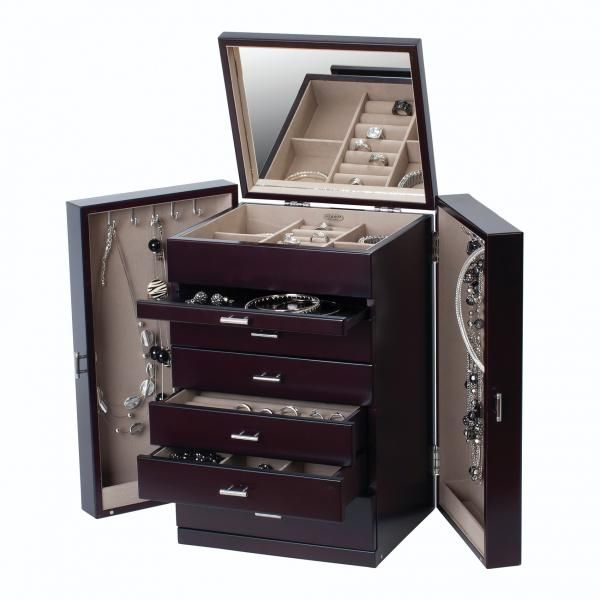 Upright Wooden Jewelry Box Chest W Drawers Ring Roll Necklace Hooks With Images Wooden Jewelry Boxes Wooden Jewelry Wooden Jewelery
