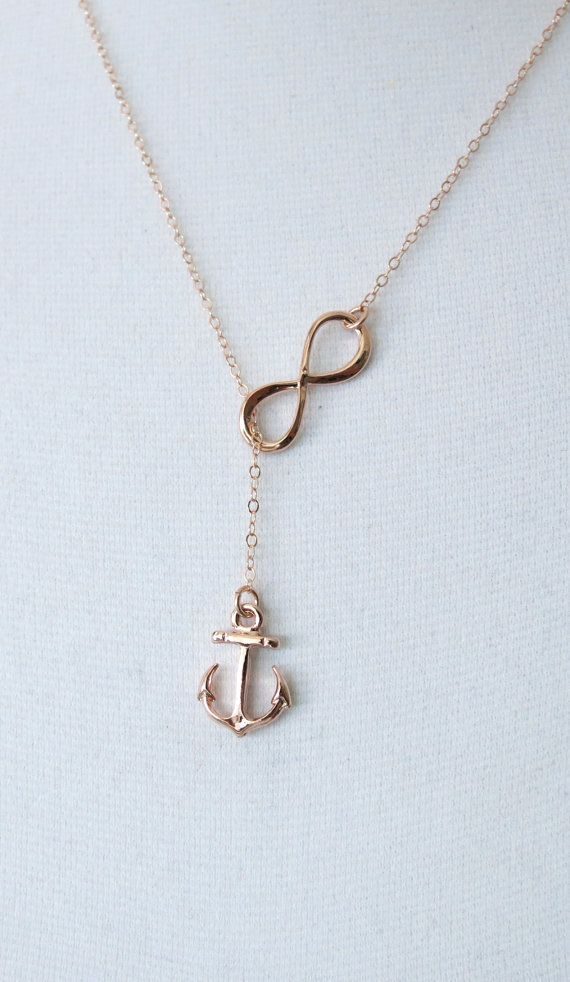 Rose Gold Anchor and Infinity Lariat Y Necklace Forever Anchored