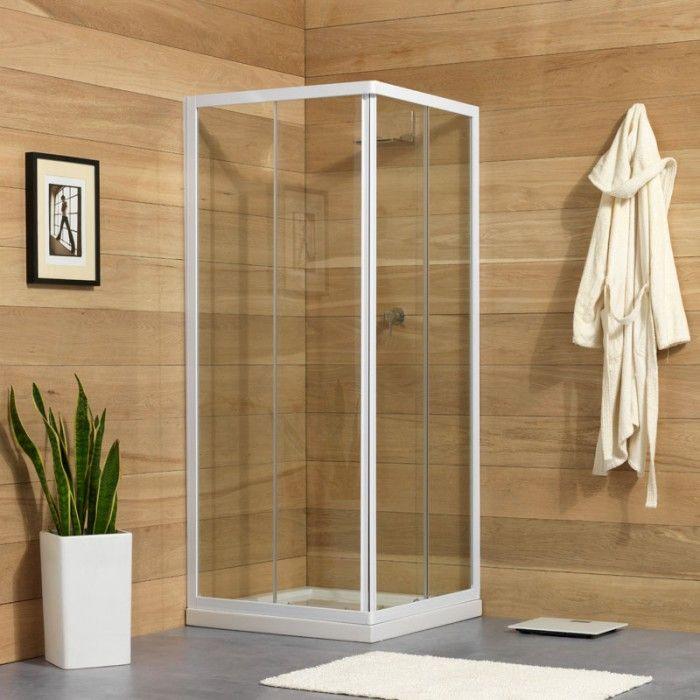 Box doccia quadrato venere 80x80 con profili bianchi Box
