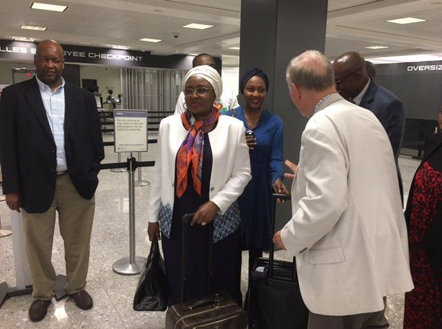 Aisha Buhari & daughter Zahra pictured with US Dept of State officials as they depart for London