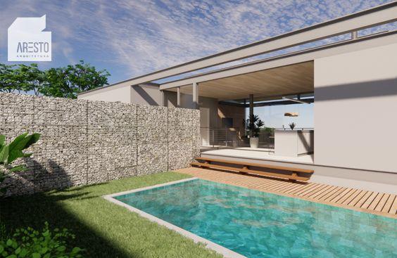 Casa suspensa em estrutura metálica com área de lazer e piscina. #projetoarestoarquitetura #arestoarquitetura #estruturametálica #metalstructure #arquitetura #architecture