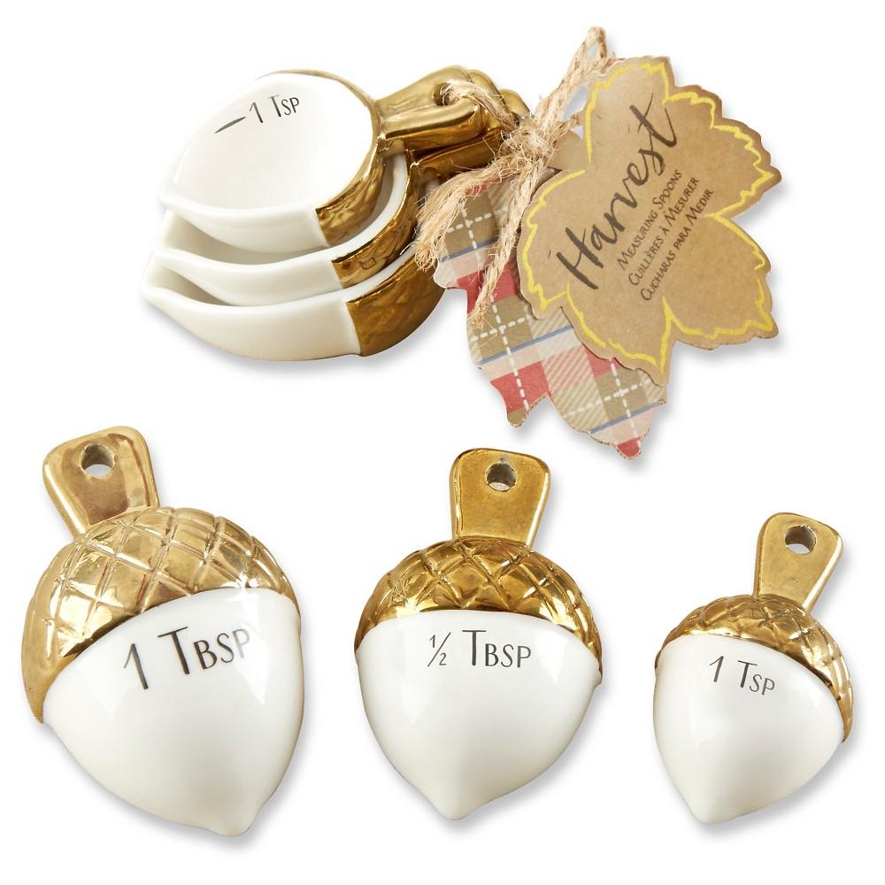 Kate Aspen Gold Dipped Ceramic Acorn Measuring Spoons (Set of 6 ...