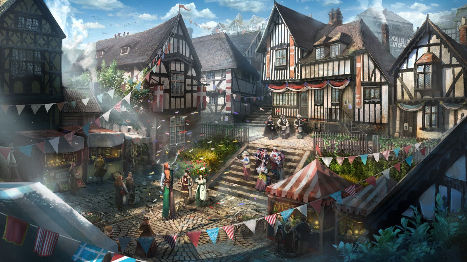 The Festival Of The Middle Ages Taehoon Kang On Artstation At Https Www Artstation Com Artwork Vb2ga Fantasy City Fantasy Art Landscapes Fantasy Landscape