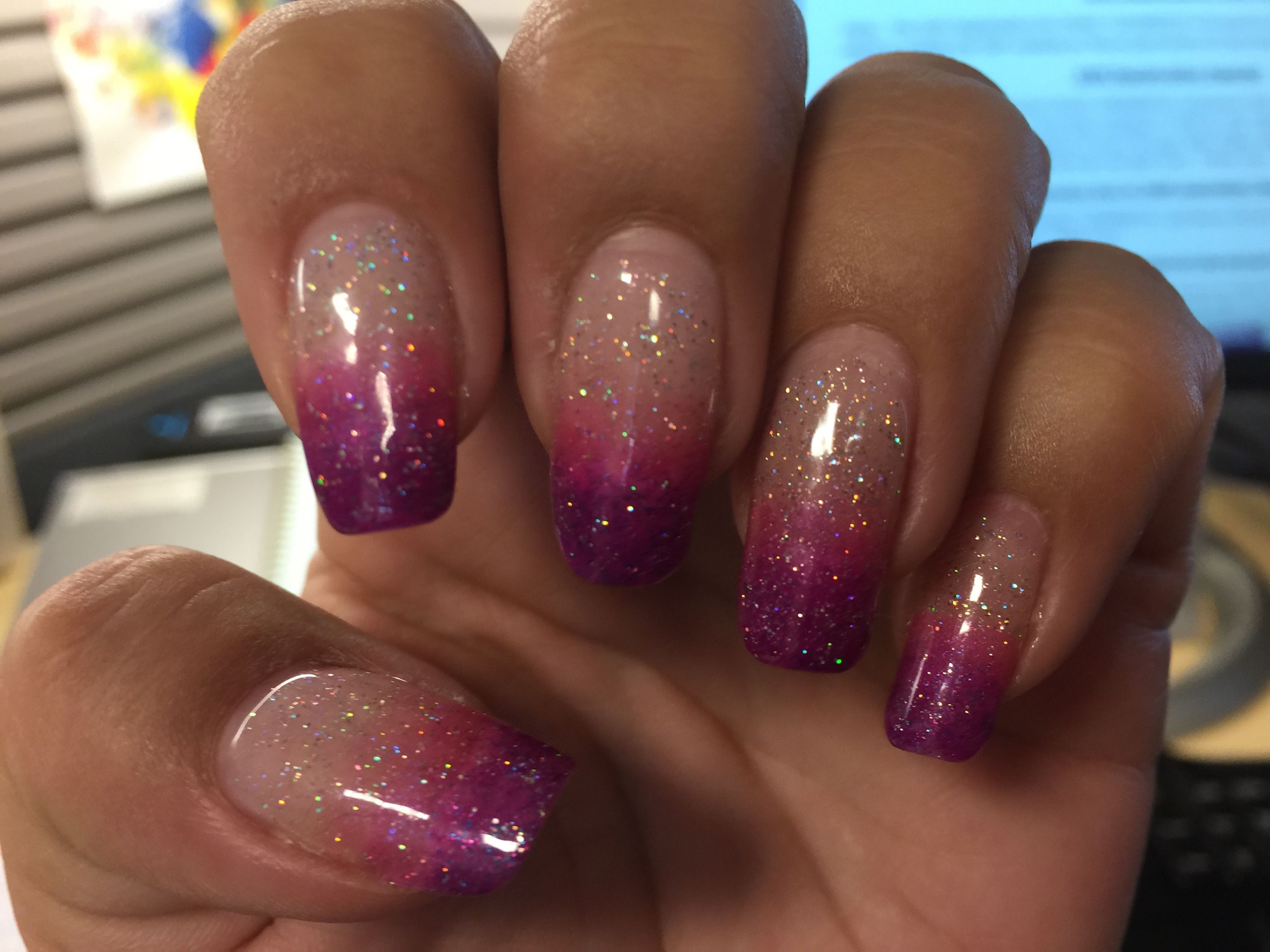 Dees Ombre Gel Nails With Pink Purple And Glitter Nail Polish