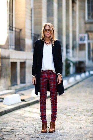 Un De Sont Choix Slim Rouge Manteau Noir Et Pantalon Écossais VGSLUzqMp