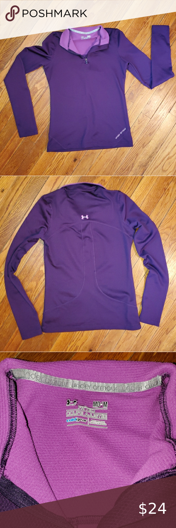 Under Armour cold gear pullover Lightweight purple/plum Under Armour cold gear pullover.   Size medium  Like new condition   Beautiful purple color. Photos were taken with and without flash to show true color, but please note, the pictures do not capture this color exactly.    Smoke free home     #0202 Under Armour Tops