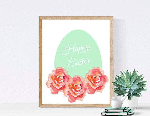 Happy Easter Printable  Art Wall Decor  Floral Print