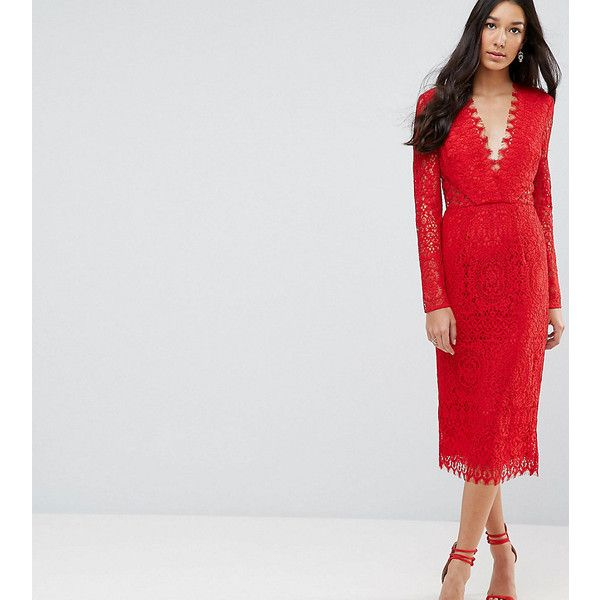 fdc24446aa ASOS TALL Long Sleeve Lace Midi Pencil Dress (465 AED) ❤ liked on Polyvore  featuring dresses