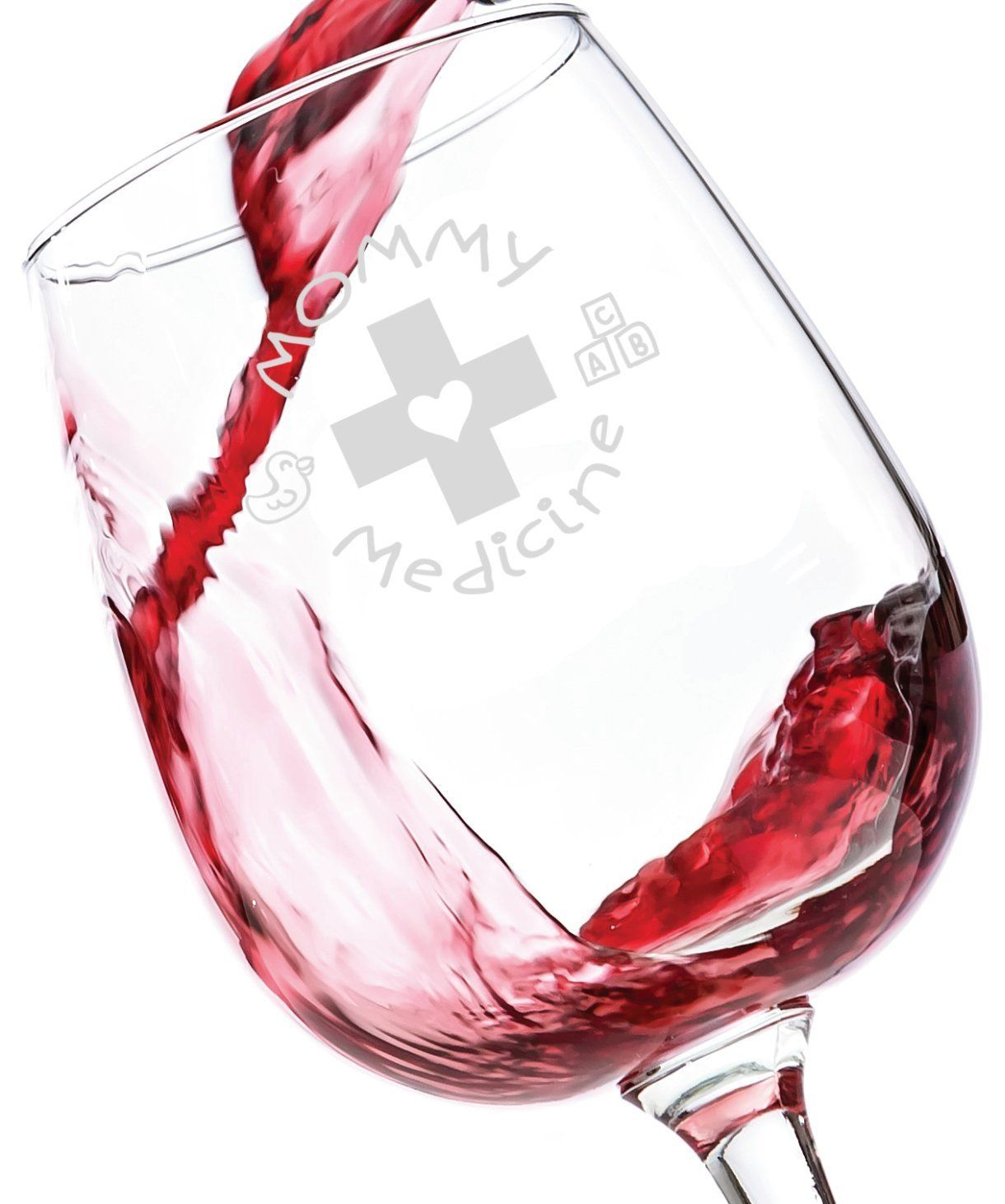 Amazon.com | Mommy Medicine Funny Wine Glass 13 oz - Best Birthday ...