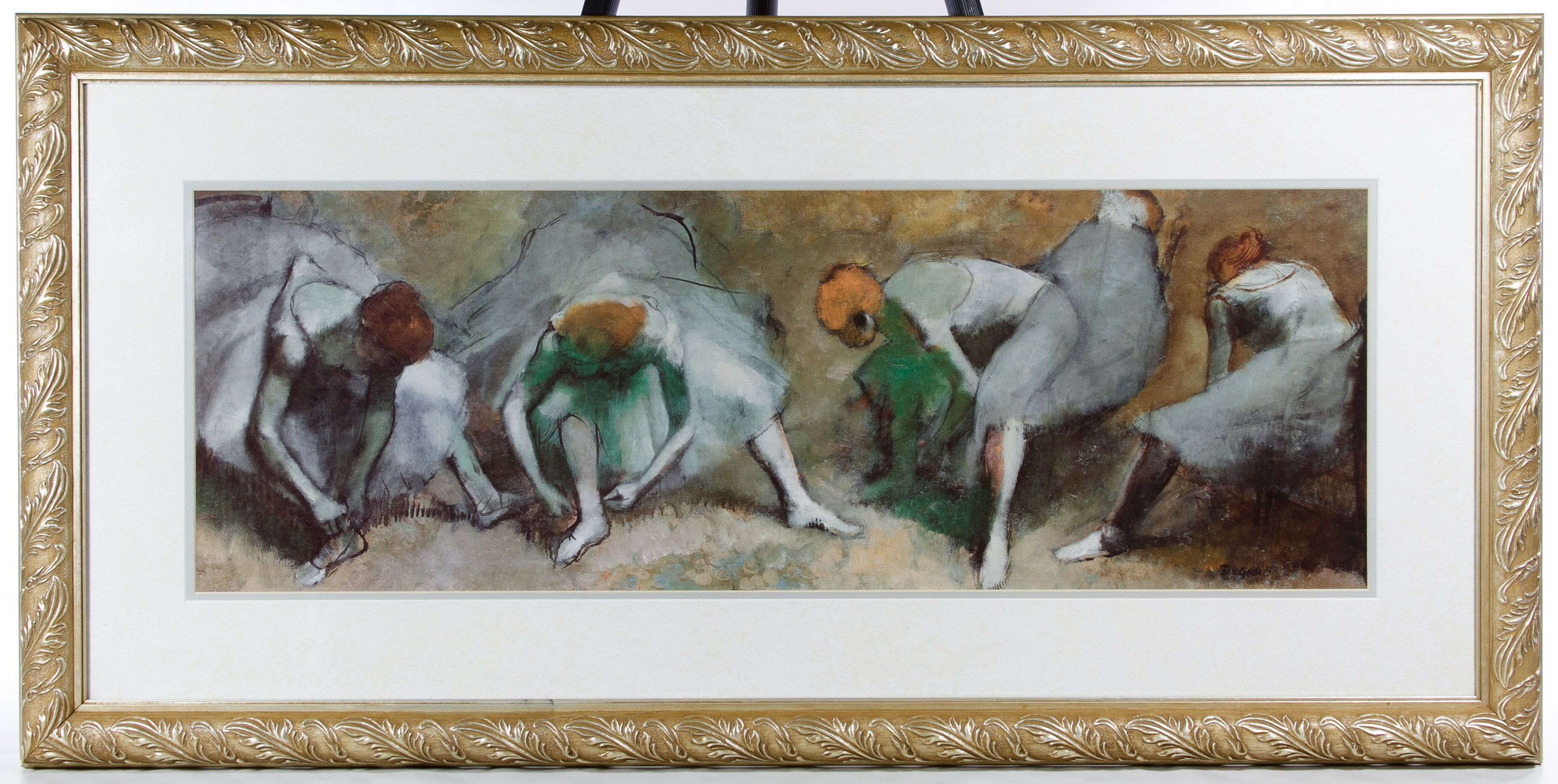 "Lot 593: Print Assortment; Three items including a 1998 Alida Fish (American, b. 1944) photograph print entitled ""Walking with Pygmalion #22,"" a small wood cut possibly signed by Barozhian and a reproduction print of Degas ""Frieze of Dancers"""