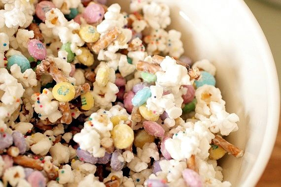 Bunny Bait!  Popcorn, Candy Coating, Easter M & M's, Pretzels, Sprinkles....Yum!