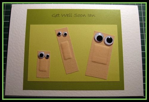 "How cute! ""Get Well Soon"" card made with bandaids and googly eyes!"
