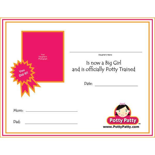 Free Potty Patty  Potty Training Certificate II Awards and - free training certificates