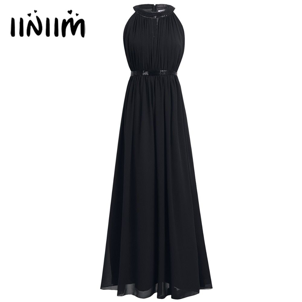 Women summer dress ladies chiffon halter natural long dress