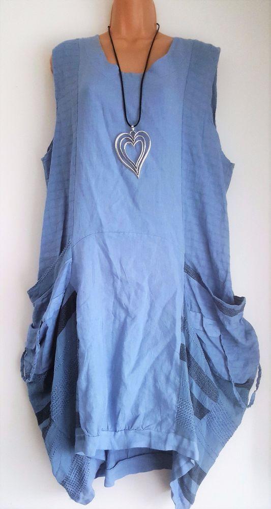 654d0d7dd6a New Italian Lagenlook Blue Linen Cotton Pocket Summer Sun Dress uk 16 18 20  22