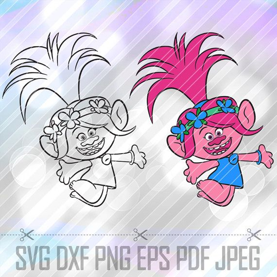 Trolls Poppy Layered SVG DXF Eps Studio Vector Cut Files Cricut