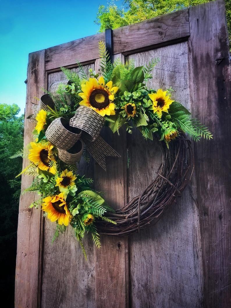 Photo of Sunflower wreath, wreaths, summer door wreath, farmhouse decor, spring, sunflower wedding, new home gift, for mother, for her, grapevine