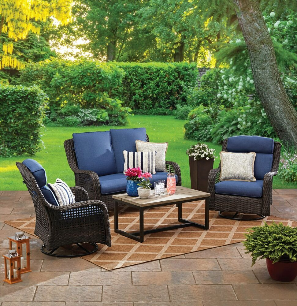 Patio Conversation Set 9pc Garden Furniture Cushions Yard Loveseat
