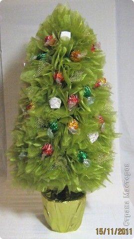 Мастер-класс Свит-дизайн Новый год МК елочки из конфет ...