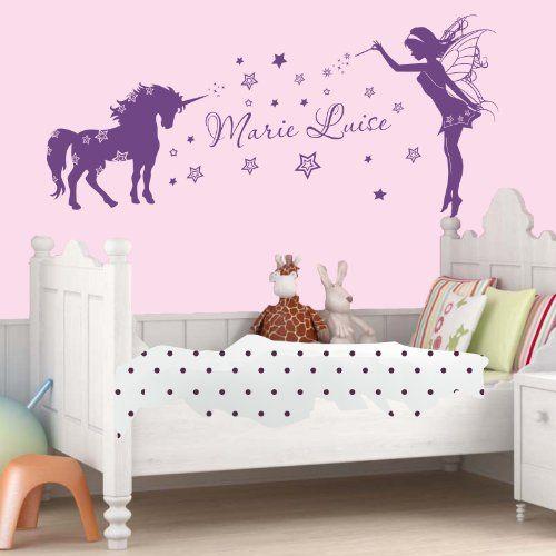 Wandtattoo Kinderzimmer mit Namen Einhorn Elfe 120x73 cm Livingstyle ...