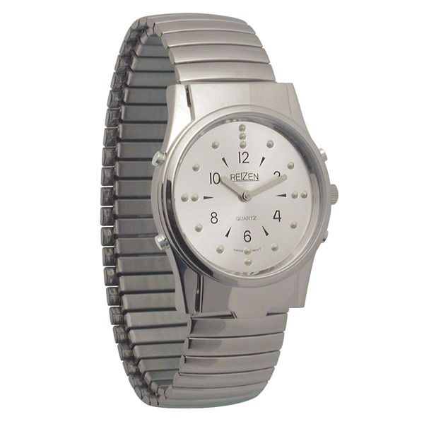 mens chrome braille and talking watch exp band watches and band mens chrome braille and talking watch exp band