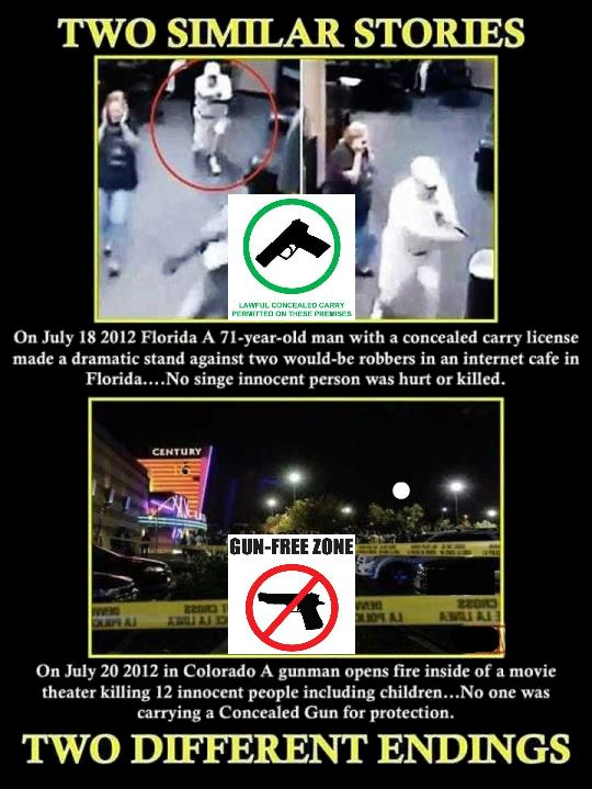 """The blame in these cases is rightly placed on the shooters, but blood is also on the hands those that choose to disarm law-abiding citizens. In the case of the Cinemark massacre in  Colorado. The City of Aurora has a municipal ordinance which makes it illegal to carry firearms into a premises that is posted """"no guns.""""  In other words, the city gave private signage the full force of law. Cinemark theaters has had a strict """"no guns"""" policy for some time and set up their patrons to be helpless."""