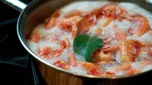 shrimp and sweet bay boiled together