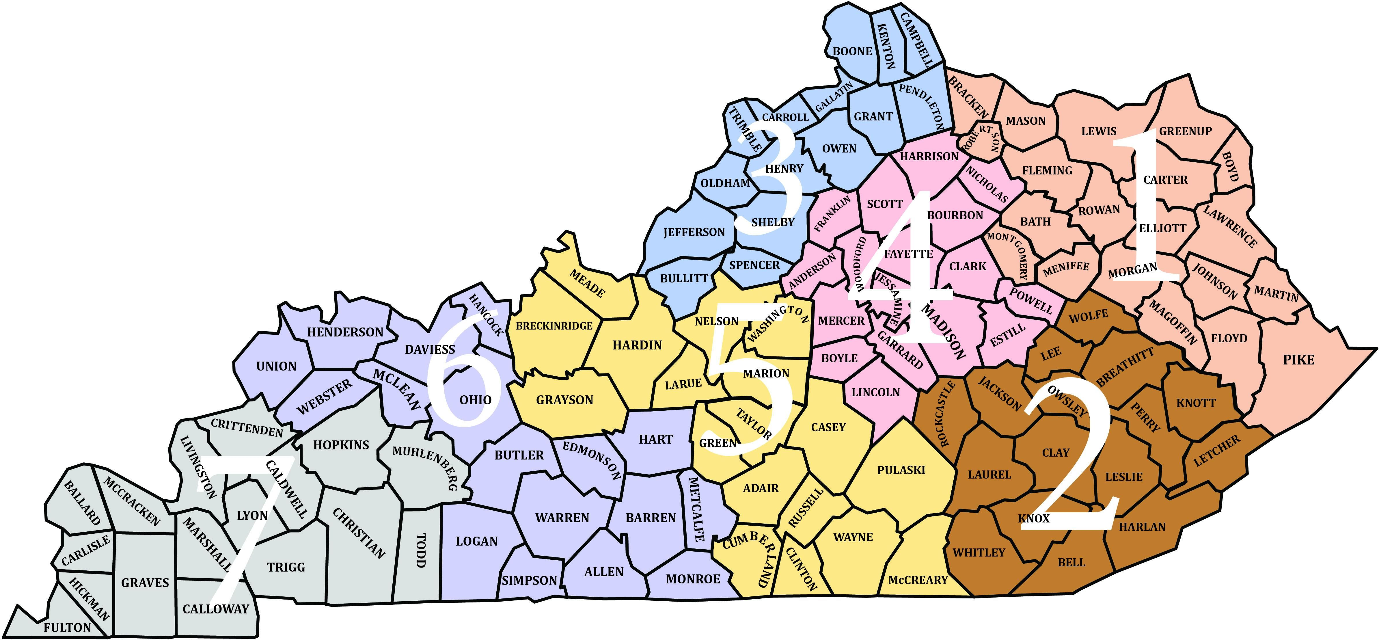 State Map of Counties and Districts in 2019 | State map, Map ...