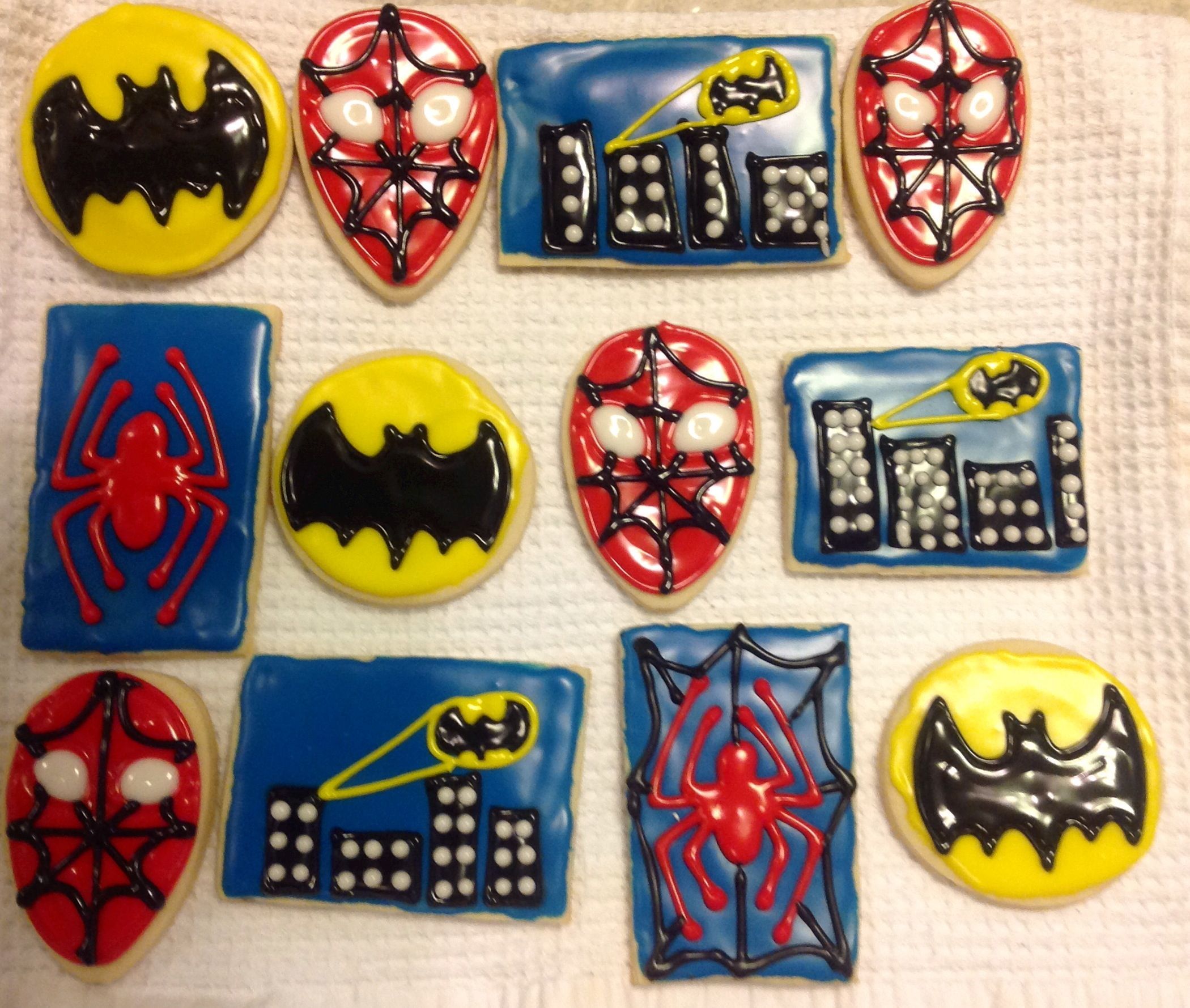 Superhero cookies, batman, spiderman