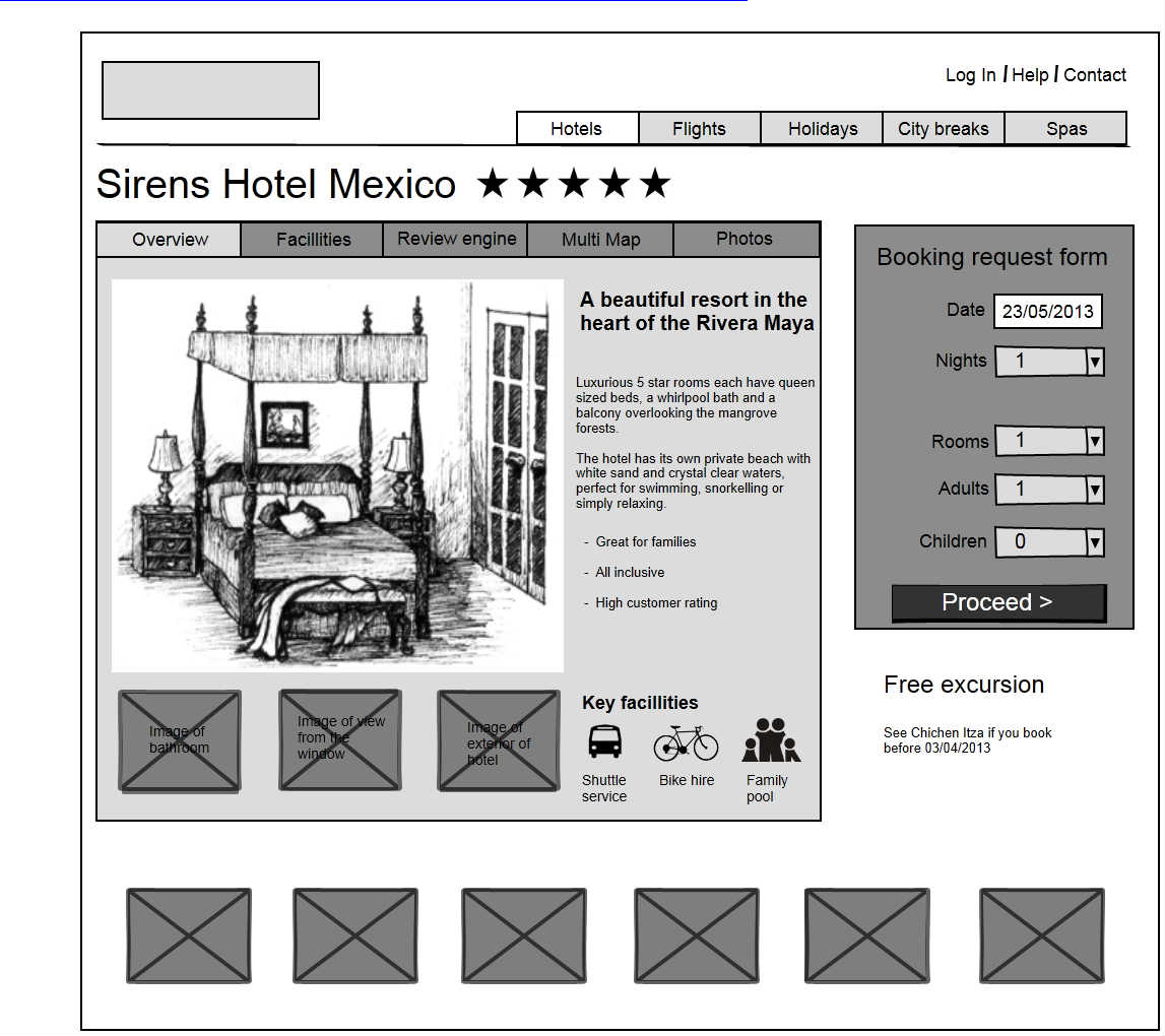 Free Hotel reservation page wireframe. It is available to import ...