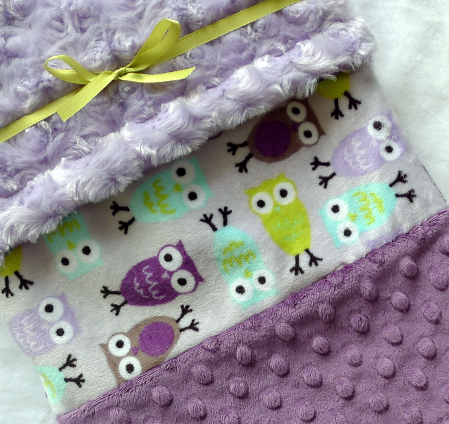 Baby Blanket, READY TO SHIP- Owls Minky Strip Baby Blanket- Purple, Lavender, Aqua, Lime Green With Lilac Swirl Minky For Your Baby Bird. $44.95, via Etsy.