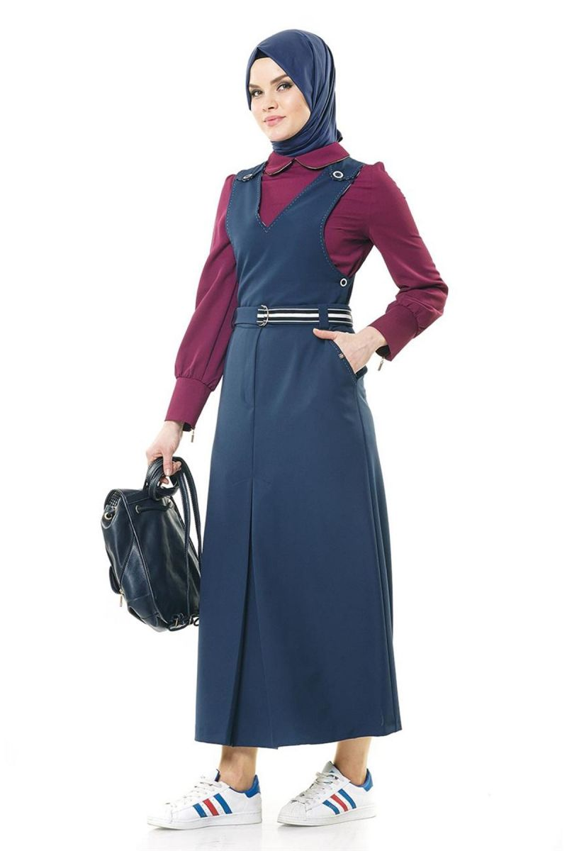 Kayra Tesettur Salopet Pileli Elbise Modelleri Moda Tesettur Giyim Elbise Moda Stilleri Elbise Modelleri