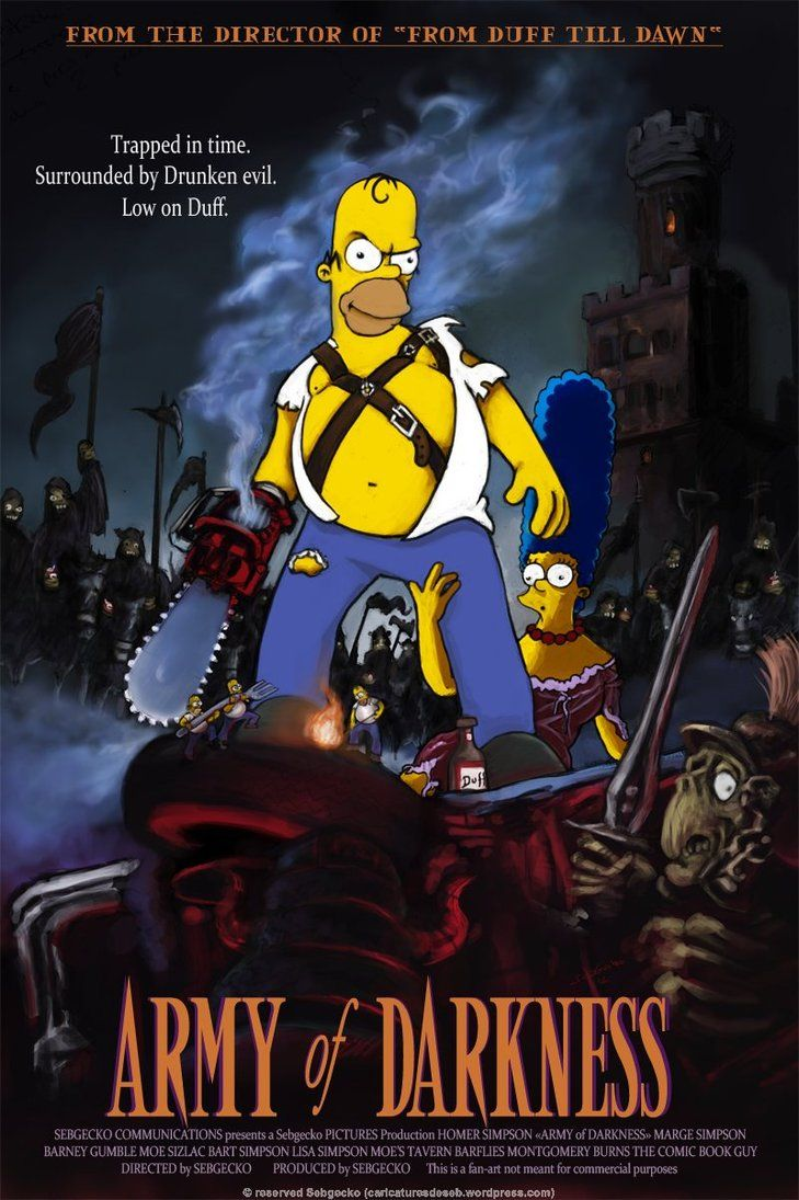 Homer Simpson Vs Army Of Darkness By Sebgecko On Deviantart The Simpsons Horror Movie Art Funny Drawings