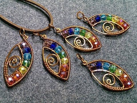 Photo of eye pendant with stones rainbow colors- Wire Wrapping stones 164