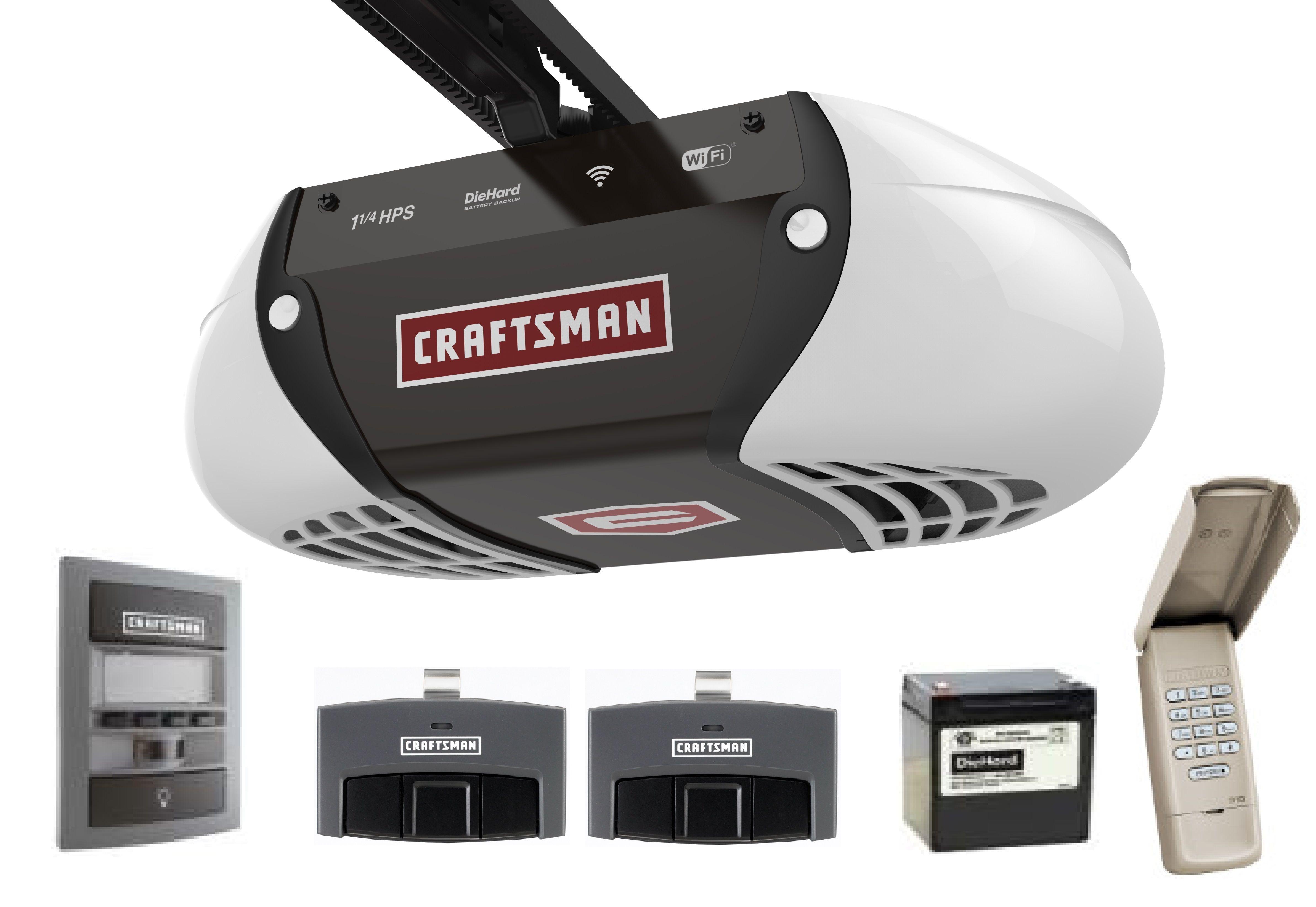 Craftsman 1 25 Hp Belt Drive Smart Garage Door Opener In 2020 Smart Garage Door Opener Garage Door Opener Remote Craftsman Garage Door Opener