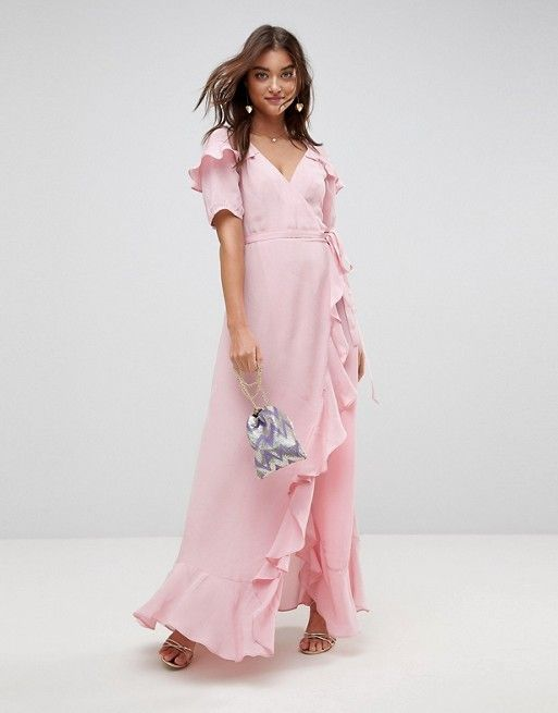 Design Zwangerschapskleding.Short Sleeve Ruffle Wrap Maxi Dress In 2019 Asos Maxi Kleider